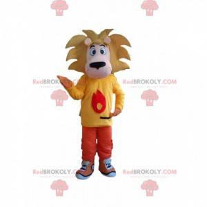 Mascotte kleine leeuw, leeuwenwelp met een kleurrijke outfit -