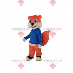 Oranžová veverka maskot s krásnými modrými očima -