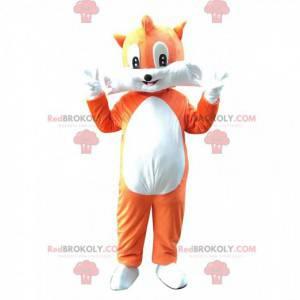 Mascote raposa laranja e branca muito fofo e divertido -