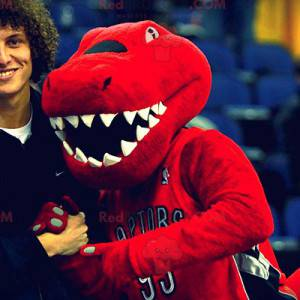 Mascotte rood en zwart dinosaurus - Redbrokoly.com