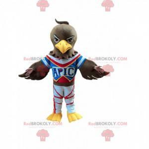Brown eagle mascot in sportswear, vulture costume -