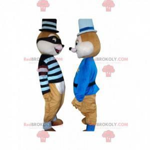 2 eekhoornmascottes, een gevangene en een politieagent -