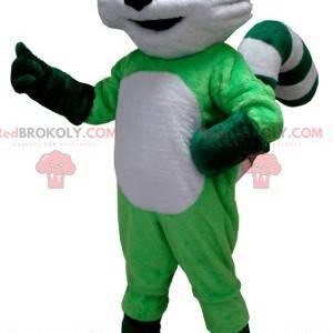 Grøn og hvid vaskebjørn maskot - Redbrokoly.com