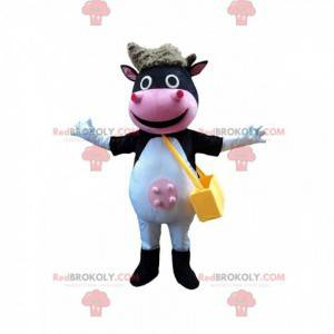 Allegro mascotte della mucca, sorridente costume della mucca -