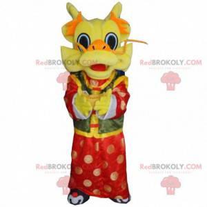 Chinesisches Drachenmaskottchen gelb rot und grün -