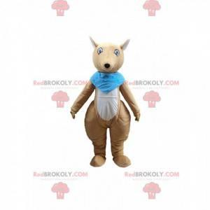 Mascota canguro marrón y blanco con un pañuelo azul -