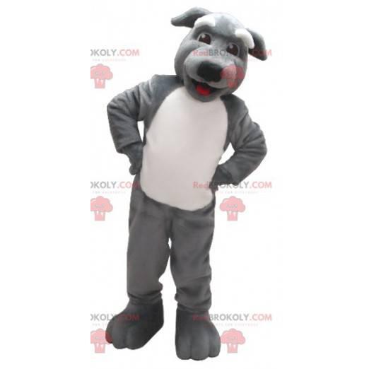Graues und weißes Hundemaskottchen - Redbrokoly.com