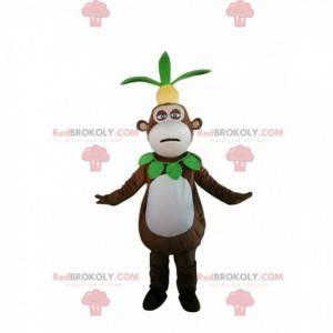 Mascote macaco com um abacaxi na cabeça, fantasia exótica -