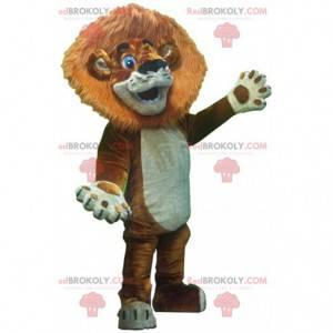 Löwenbaby-Maskottchen mit großer Mähne und blauen Augen -