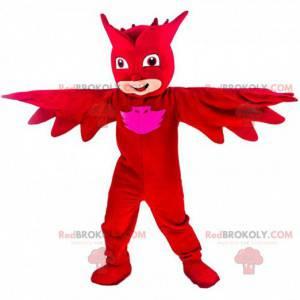 Uomo mascotte, supereroe mascherato con un costume rosso -