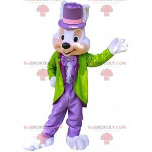 Elegante mascotte coniglietto, costume da coniglio ben vestito