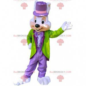 Mascota de conejito elegante, disfraz de conejito colorido y