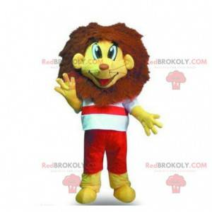 Maskotka mały żółty i brązowy lew - Redbrokoly.com