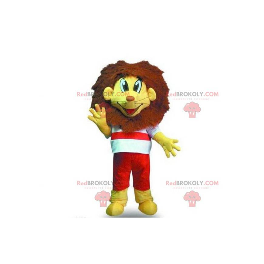 Maskot malý žlutý a hnědý lev - Redbrokoly.com