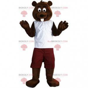 Mascote castor marrom vestido, fantasia de roedor -