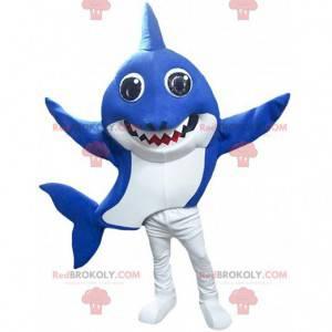 Blå og hvid haj maskot, havdragt - Redbrokoly.com