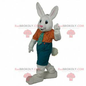 Mascote coelho branco com uma roupa elegante, fantasia de