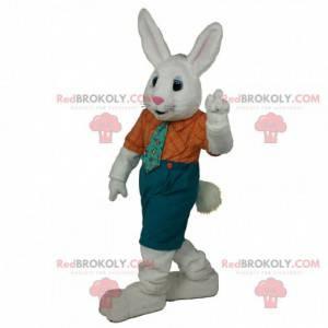 Wit konijn mascotte met een elegante outfit, konijnenkostuum -