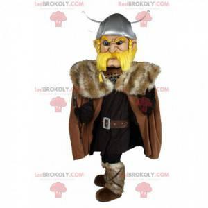 Blond Viking mascotte, vechtende man, Vikingkostuum -