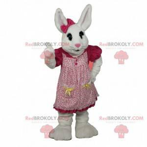 Wit konijn mascotte met een roze jurk, konijnenkostuum -