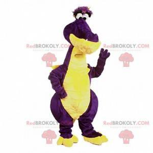 Mascote de dragão roxo e amarelo, fantasia de dragão colorido -
