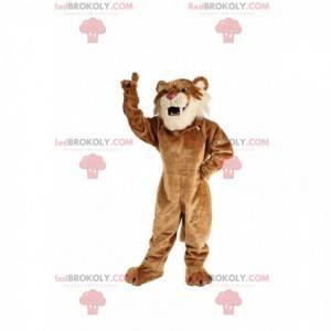 Beige saber-toothed tiger mascot, feline costume -