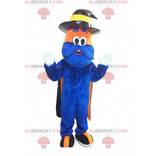 Niebiesko-pomarańczowy włochaty bałwan maskotka - Redbrokoly.com