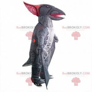 Mascota de dinosaurio inflable, gris, gigante e impresionante.