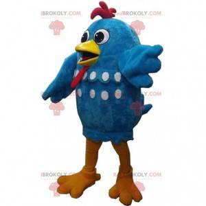 Mascota de pollo azul, gigante y divertido, disfraz de gallina