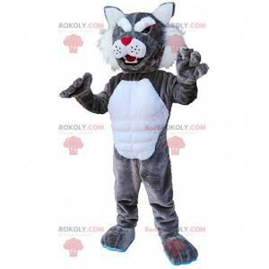 Mascote de puma cinza e branco, fantasia de puma, animal