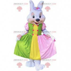Konijn mascotte met kleurrijke jurk, konijnenkostuum -
