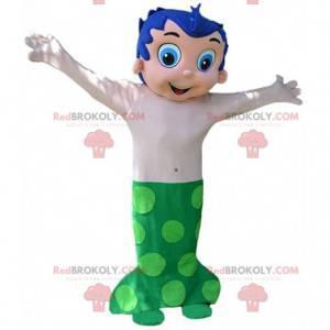 Fato de sereia com cabelo azul e cauda verde - Redbrokoly.com