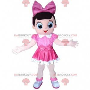 Mascota de niña vestida con traje de niña rosa, rosa -