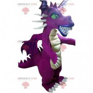 Impresionante mascota dragón púrpura, con grandes colmillos -