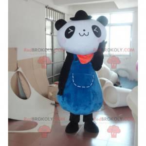 Sort og hvid panda maskot i blå kjole - Redbrokoly.com