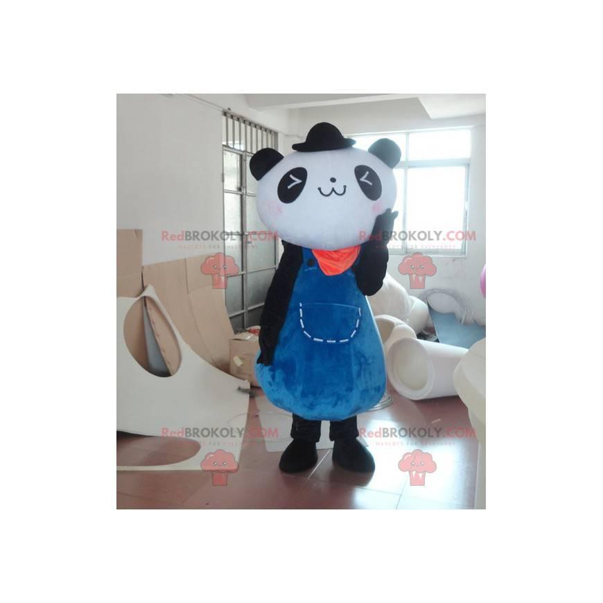 Maskot černé a bílé pandy v modrých šatech - Redbrokoly.com