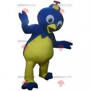 Blue and yellow bird mascot, colorful bird costume -