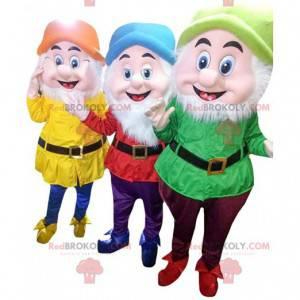 """3 farverige dværgmaskotter, fra """"Snehvide og de 7 dværge"""" -"""