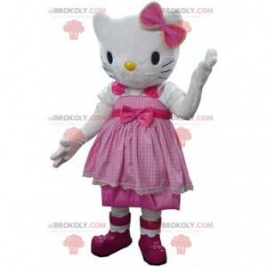 Mascotte Hello Kitty, beroemde Japanse kat met een jurk -