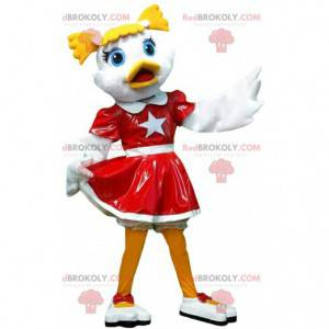 Mascotte di anatra cheerleader, costume da cheerleader -
