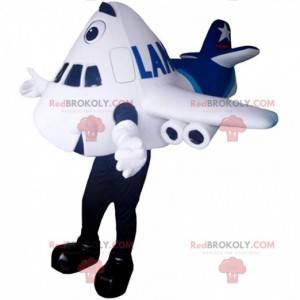 Mascota de avión gigante blanco y azul, traje de aerolínea -