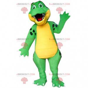 Green and yellow crocodile mascot, alligator costume -