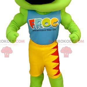 Mascotte della rana verde gialla e rossa - Redbrokoly.com