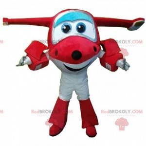 Mascote de avião vermelho e branco, traje gigante de jato