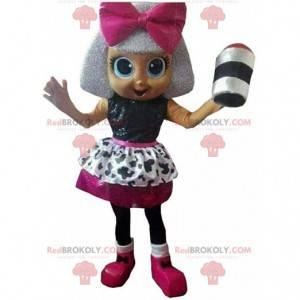 Boneca, mascote, cantora, fantasia de diva, garota -