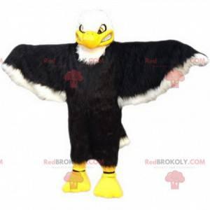 Einschüchterndes Schwarz-Weiß-Adler-Maskottchen, Adlerkostüm -