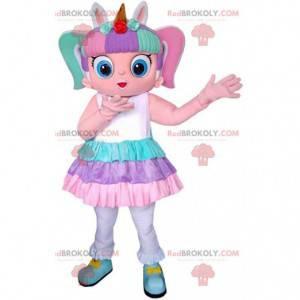 Menina mascote colorida, fantasia de menina, criança -