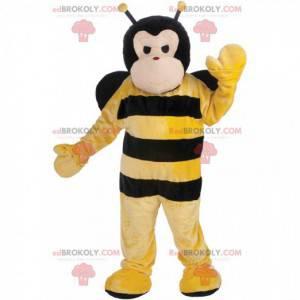 Černá a žlutá včelí maskot, létající hmyz kostým -