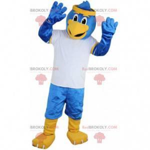 Modrý pták maskot v sportovní oblečení, sup kostým -