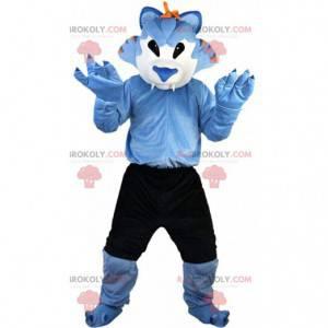 Mascote de lobo azul e branco, fantasia de felino com shorts -